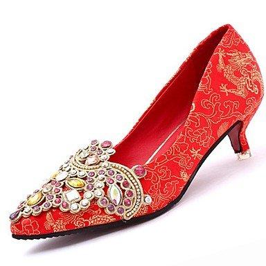 SANMULYH Scarpe Donna Inverno Comfort Tacchi Stiletto Heel Punta Per Strass Abito Rosso Rosso
