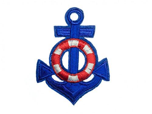 Anker Bügelbild Aufnäher Aufbügler Miniblings Rettungsring Boot 65x50mm blau