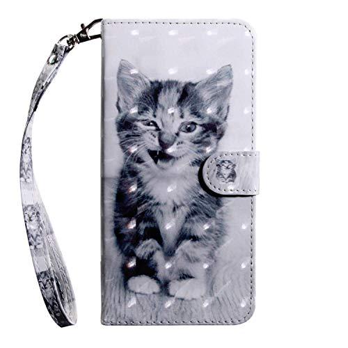 vingarshern Hülle für Oukitel C5 Schutzhülle Tasche Etui Klappbares Magnetverschluss Lederhülle Flip Case Handytasche Oukitel C5 Hülle Leder Brieftasche MEHRWEG(Katze)