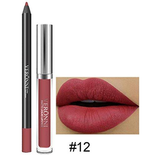 LONUPAZZ 2pcs Rouge à Lèvres Mat Liquide Longue Durée Lip Liner Waterproof Maquillage Cosmétiques Kit Sexy Lip Gloss (L)