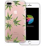 dessana Cannabis Weed Transparente Silikon TPU Schutzhülle 0,7mm dünne Handy Tasche Soft Case für Apple iPhone 8 Plus Cannabis Muster