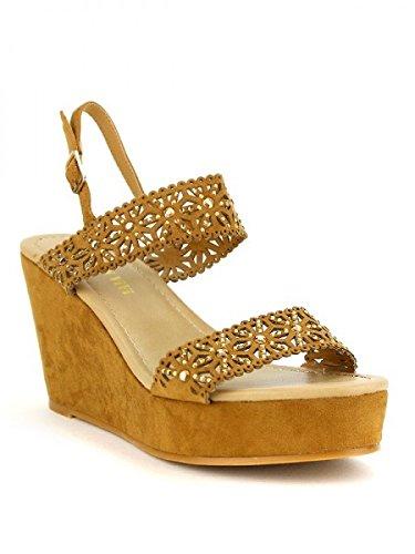 Cendriyon, Compensée Camel simili peau cuir TAKAS Chaussures Femme Caramel