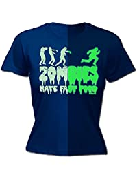 glow in the dark 123t Women's GLOW IN THE DARK ZOMBIES HATE FAST FOOD - FITTED T-SHIRT