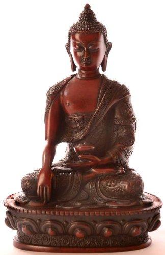 Estatua de Buda–Shakyamuni Figura de Buda Resin 19cm rotbraun