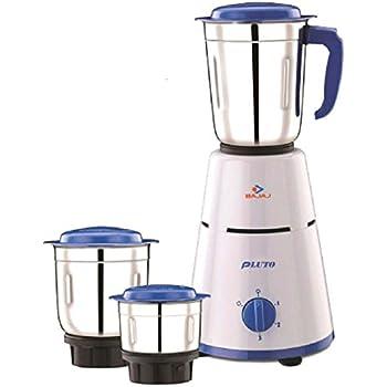 Bajaj Pluto 500-Watt Mixer Grinder with 3 Jars (White)