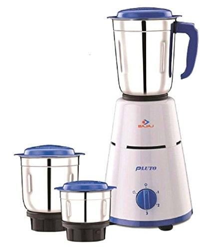 Bajaj Pluto 500-Watt Mixer Grinder with 3 Jars (White)
