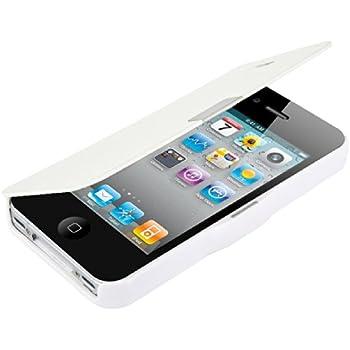 kwmobile Hülle für Apple iPhone 4 / 4S - Bookstyle Case Handy Schutzhülle Kunststoff - Flipcover Klapphülle Weiß