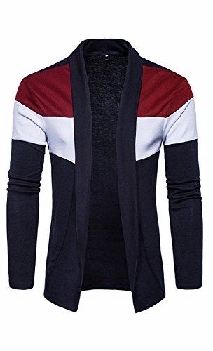 UMilk Herren Slim Fit Open Front Drapierte Schalkragen Longline Cardigan (Gerippte Pullover Klobige)