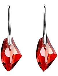 745433d91073 Zolimx Cristal de Diamantes de Imitación de Cristal Austriaco Pendientes  Oreja Espárragos para Mujeres (Rojo