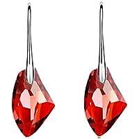 Zolimx Moda Nuevo Cristal de Diamantes de Imitación de Cristal Austriaco Pendientes Oreja Espárragos Para Mujeres (Rojo)