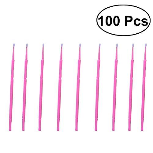Frcolor jetables 100 pcs Micro Applicateur brosses Extensions de cils cotons-tiges Mascara Brosse Baguettes (Rose)