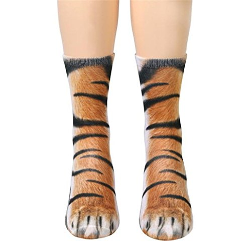 Pringle Cashmere (UFACE Damen Herren Erwachsene Unisex Tier Pfote Crew Socken Sublimated Print Warmers Leggings Underwear Slippers Socke (Tiger, One Size))