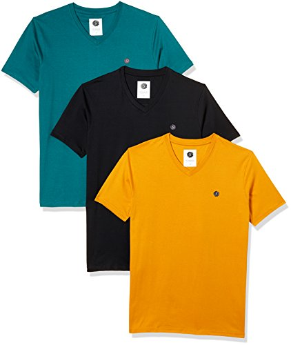 Amazon Brand- Symbol Men's Cotton V-Neck T-Shirt (Pack of 3) (AW17PLPO3V4_L_Multicolor4)