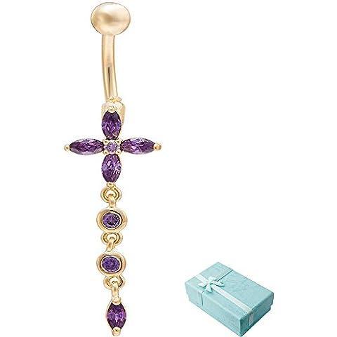 acxico Croce Forma Cristallo Zircon Fiore lunga catena ciondolo ombelico fibbia, viola