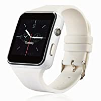 Smartwatch, Bluetooth Smart Watch Phone with SIM TF Card Slot Camera Pedometer for Android phones HUAWEI Samsung HTC Sony LG Google Pixel & IOS iPhone (App Unavailable) (White)