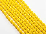 #9: The Design Cart Yellow Opaque Drop / Briolette Shaped Crystal Bead ( 6 mm * 8 mm ) ( 1 String )