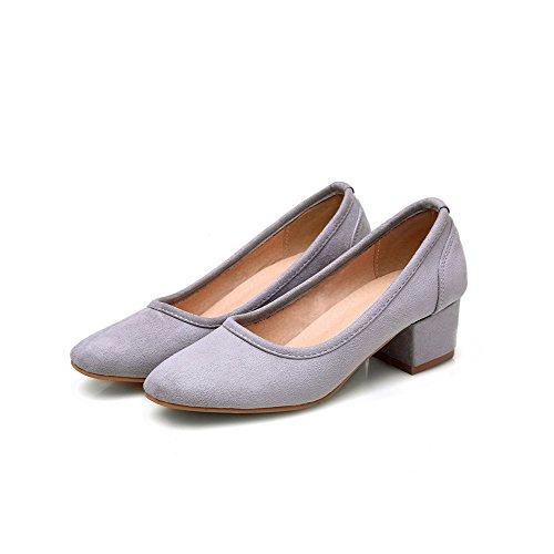VogueZone009 Damen Mattglasbirne Ziehen Auf Quadratisch Zehe Mittler Absatz Pumps Schuhe Grau