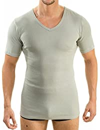 c8f8098a9b3c01 HERMO 4880 Lot de 3 Business Shirt Homme à manche courte avec col V, Maillot  de corps demi…