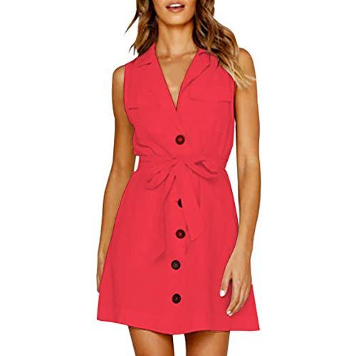 OIKAY Frauen Sommerkleid äRmellose Kleider Damenmode Sexy Tiefem V-Ausschnitt Verband Button Sleeveless Dress