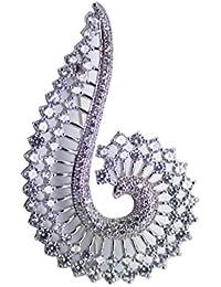 Dainika Aabharanam | Beautifully Crafted Micro-Pavé Cubic Zircon Flamboyant Bird Design Silver Colour Brooch/Saree-Pin...