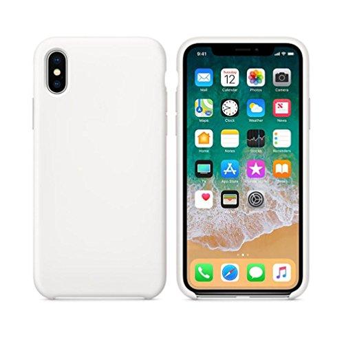 Preisvergleich Produktbild Ouneed® Für iphone X Hülle ,  Slim Flüssiges Silikon Gel Gummi Stoßfest Kratzfest Fit mit weichem Mikrofaser-Futterkissen Case Cover For Iphone X (Weiß)
