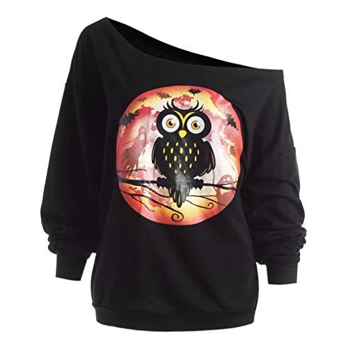 ITISME TOPS Frauen Halloween Kürbis Teufel Spitze Langarmshirts Bluse Shirt