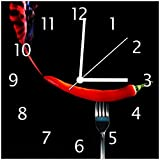 Wallario Glas-Uhr Echtglas Wanduhr Motivuhr • in Premium-Qualität • Größe: 30x30cm • Motiv: Rauchende Chili-Schote an Einer Gabel