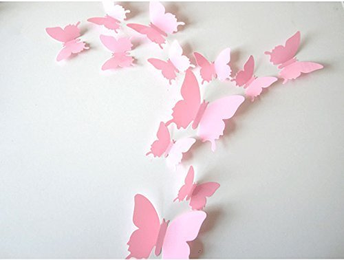 SUNBEAUTY 1 confezione da 12 pezzi farfalla 3D decorazione della parete per la casa arredamento camera da letto a casa per St. Valentines compleanno festoval