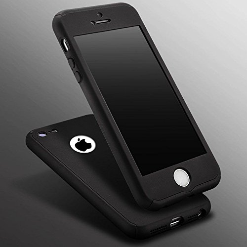 Generic Plastic 360 Degree Full Body Protection Case Cover for Apple iPhone 5S Silver (Front & Back Cover & Screen Tempered Glass)(Black)
