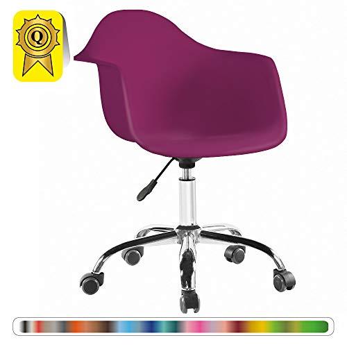 Decopresto 1 x Fauteuil Bureau Scandinave Pivotant roulettes Pieds: Acier Chrome Assise : Plastique Violet