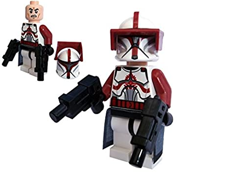 RED TROOPER MINIFIGURE BUILT WITH CLONE COMMANDER FOX TORSO ,