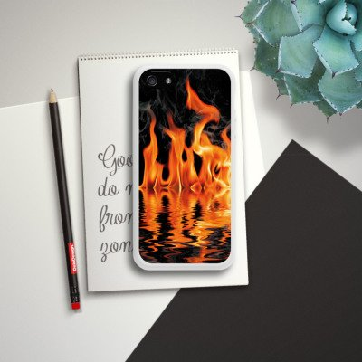 Apple iPhone 4 Housse Étui Silicone Coque Protection Feu Feu Barbecue Housse en silicone blanc