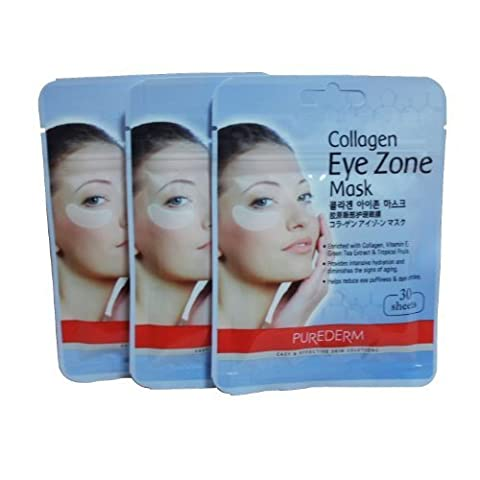 PUREDERM Collagen Eye Zone Mask Pad Patches - Wrinkle Care, Dark Circles Whitening (3 Pack (Eye Care)