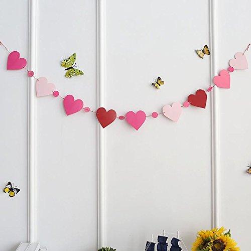 KINEJ Cadre Photo Grille de Mur à l'arrière-Plan, Peach Heart Flag