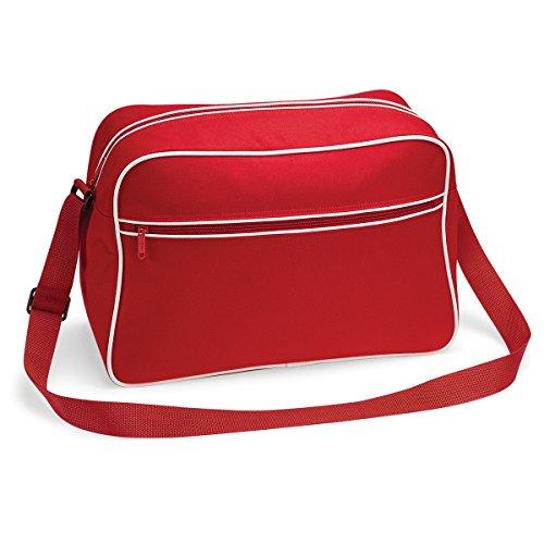 Tracolla Bagbase Tracolla Retro Stile Regolabile Tracolla 48x28x18cm 18l Spalla Tempo Libero Classico Rosso / Bianco