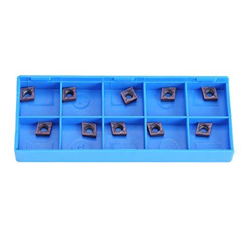 10pcs CNC Hartmetall Einsatzschneider Wendeschneid Drehmaschine Fräseinsätze Drehen Werkzeuge mit Box CCMT060204 VP15TF für Regular Steel (Rot Box Steel Tool)