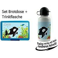 Preisvergleich für CreaDesign persönliche Brotdose BPA-Frei + Trinkflasche aus Aluminium 500 ml | personalisierbar mit Wunschnamen | Lunchbox Farbe auswählbar| Motiv Wal Orka Meer Junge Mädchen