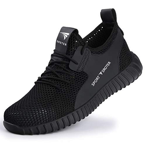 SROTER Scarpe Antinfortunistiche Uomo Donna Scarpe da Lavoro con Punta in Acciaio Leggere Traspiranti Sneaker da Lavoro Leggere Eleganti Scarpe Sportive di Sicurezza