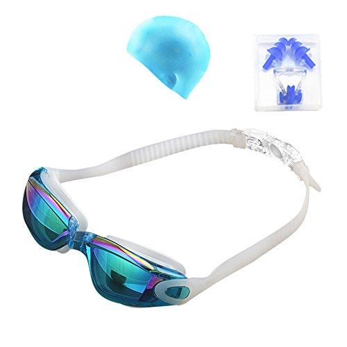 Butterme Unisex Adult Swim Equipment, Profi Schwimmbrillen + Swim Cap + Ohrstöpsel + Nase Clips Set für Männer und Frauen (Hellblau)