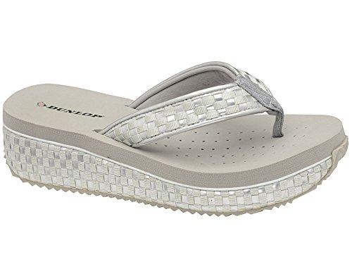 designer flip flops qbc5  Ladies Dunlop Toe Post Low Wedge Flip Flops Woven Beach Summer Sandals  Shoes Size 3-8