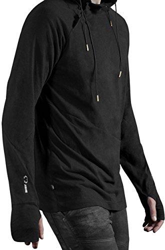 Musterbrand-Deus-Ex-Langarm-T-Shirt-Herren-Nightwatch-Hood-Kapuzen-Sweatshirt-Schwarz