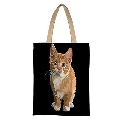 AFUJIN Casual Bag Canvas Umhängetasche Womenscanvas Einkaufstasche Double Kitty Color135 * 45Cm - Kitty Shopper Tasche