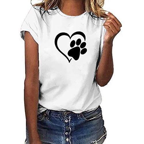 rt Kurzarm Sommer Sexy Casual Locker Plus Size Frauen T-Shirt Tunika Bluse Oberseiten(Weiß,L) ()