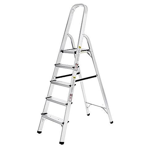Songmics Alu Klapptritt Trittleiter Leiter 3 m 5 Stufen GLT159