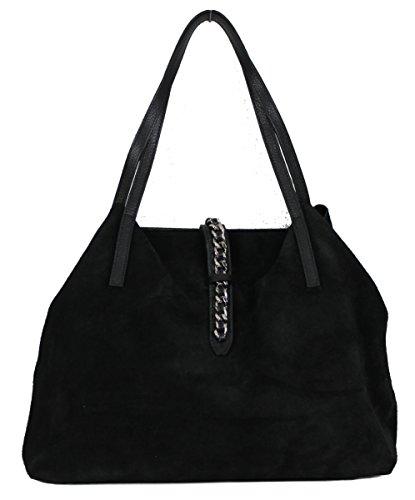 Damen Schultertasche Leder schwarz Handtasche, GLORIA, Kette, Echtleder, bag in bag, Henkeltasche, Wildleder, Veloursleder (Schwarz)