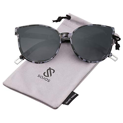 SOJOS Runde Sonnenbrille Damen UV-Schutz Groß Fashion Design SJ2057 mit Schwarz Rahmen/Verlaufgrau Linse