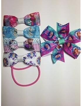 Mega Pack di accessori per capelli a mano Frozen ogni confezione contiene 4individuali fiocchi per capelli e...