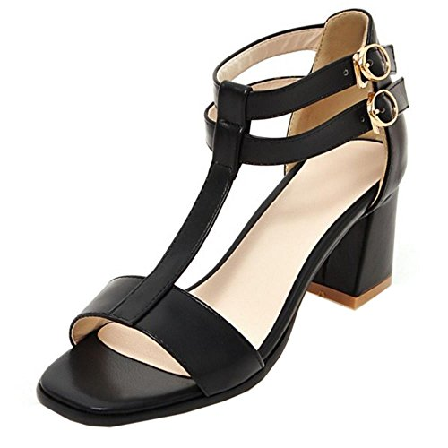COOLCEPT Femmes Mode T-strap Orteil ouvert Chunky Heel Sandales Noir