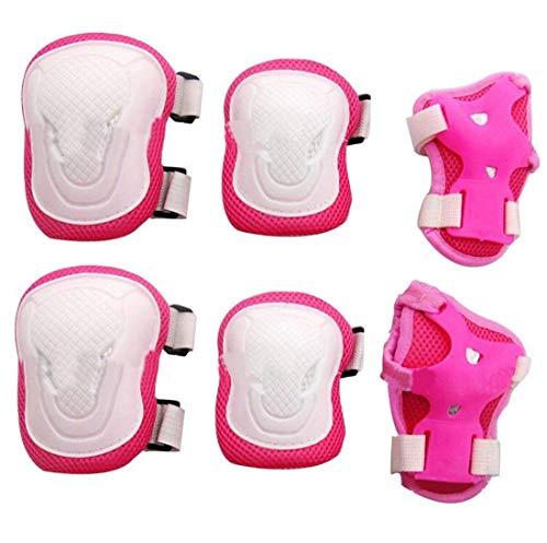 TUPWEL 1 Set für Erwachsene, Damen, Pink + Weiß, Knie, Handgelenk, Ellenbogenschutz, Schutzpolster für Outdoor-Sportarten, Skaten, Skateboard, Radfahren, Roller