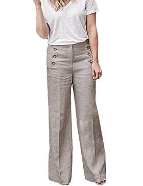 Pantalones Anchos para Mujer Otoño Invierno 2018 Moda PAOLIAN Casual Pantalones Acampanados de Vestir Cintura...